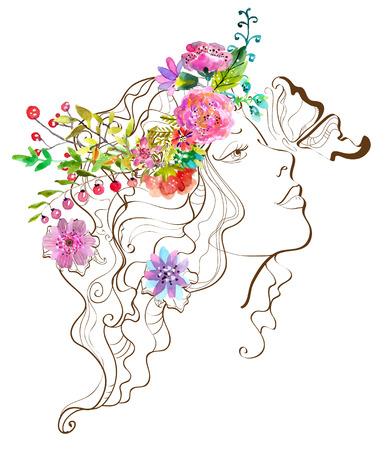 perfil de mujer rostro: Mujer hermosa con la mariposa y las flores, ilustración del doodle con flores de la acuarela sobre blanco Vectores