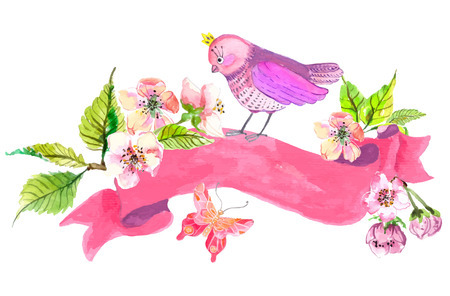 pink floral: Watercolor colorful background. Birds and flowers with pink ribbon for wedding design