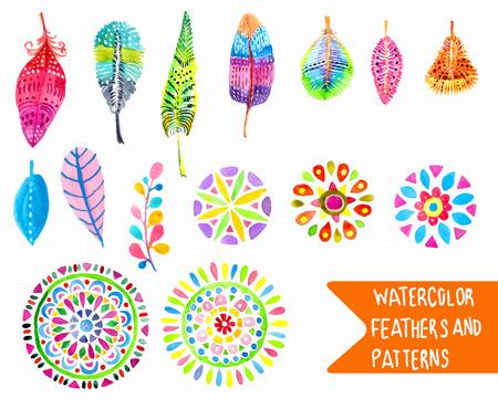 pluma: Pluma de la acuarela y la colección patrón sobre blanco