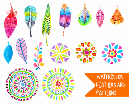Watercolor feather and pattern collection over white