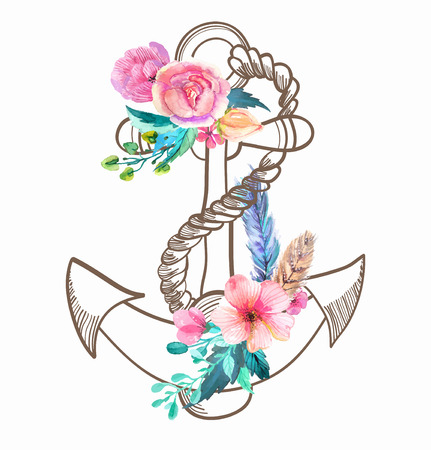 anchor drawing: Doodle Anchor with watercolor flowers and feather over white