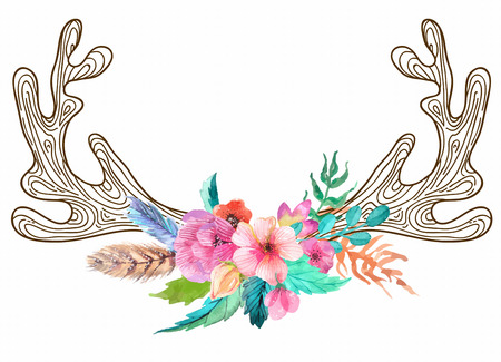 Doodle horns with watercolor flowers and feathers, seamless pattern