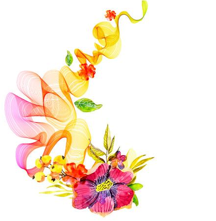 Fondo colorido abstracto con flores de onda y acuarela sobre blanco