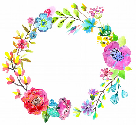 background flower: Flower watercolor wreath for beautiful design over white Illustration