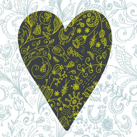 blumen verzierung: Doodle floral nahtlose Karte mit Blumen und V�geln. Sch�ne Muster mit floralen Ornament f�r die Gestaltung von Karten, Notebook-Deckel, Kinder-Design und andere. Fr�hling Thema Hintergrund.