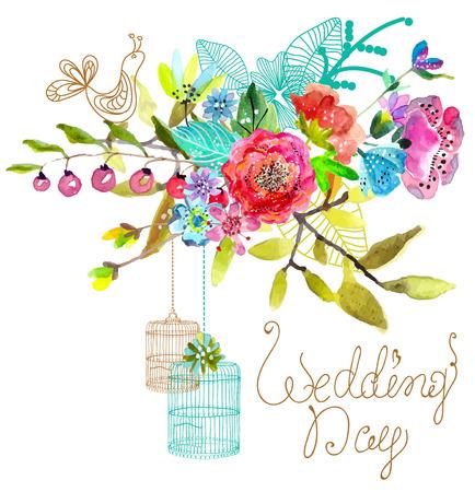 graficas de pastel: Fondo de la acuarela floral con jaulas de pájaros de hermoso diseño en blanco Vectores