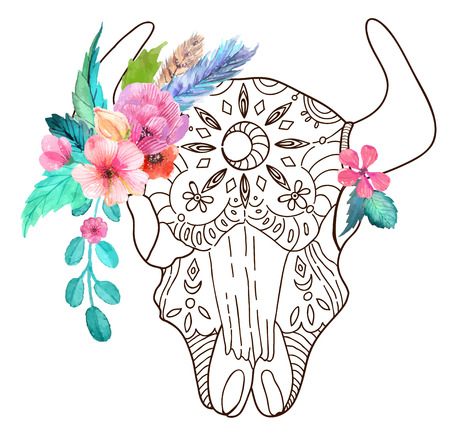 toro: Cráneo del toro Doodle con flores de la acuarela y plumas sobre blanco