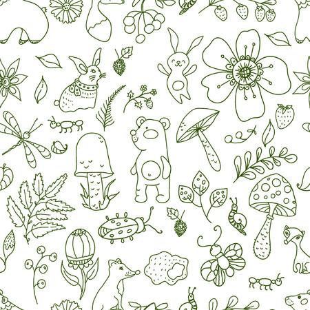 animales del bosque: Ilustración bosque Doodle, sin fisuras patrón floral con los animales del bosque: oso, el zorro, el conejo y los insectos. Fondo de estilo infantil. Vectores