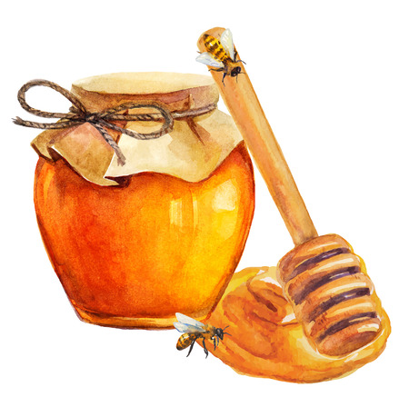 raw gold: Watercolor Honey jar and honey stick over white