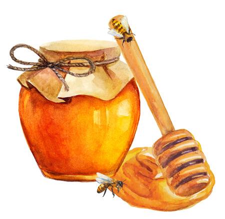 honey pot: Watercolor Honey jar and honey stick over white