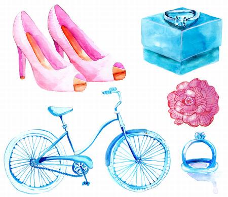 anillo de compromiso: Acuarela elementos de la colección de la boda de hermoso diseño