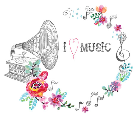 gramophone: Vintage Gramophone, Record player background with floral ornament, beautiful  illustration with watercolor flowers