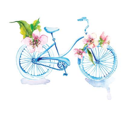 bicicleta: Bicicleta de la acuarela con las flores sobre blanco Foto de archivo