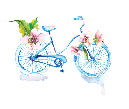 Watercolor bicycle with flowers over white Stock Photo