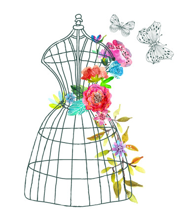Doodle mannequin with watercolor flowers and butterfly over white