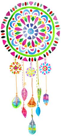Watercolor Dreamcatcher voor mooi design, boho chic, etnische