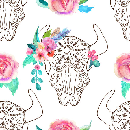 steer: Doodle bull skull with watercolor flowers and feathers over white, seamless pattern