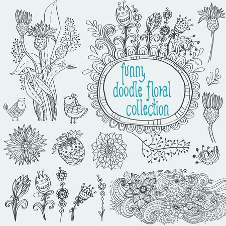 blumen verzierung: Doodle floral Sammlung mit Blumen und V�geln. Sch�ne Elementen und Blumenverzierung f�r die Gestaltung von Karten, Notebook-Deckel, Kinder-Design und andere