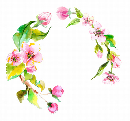 Watercolor apple flowers wreath, beautiful background for design
