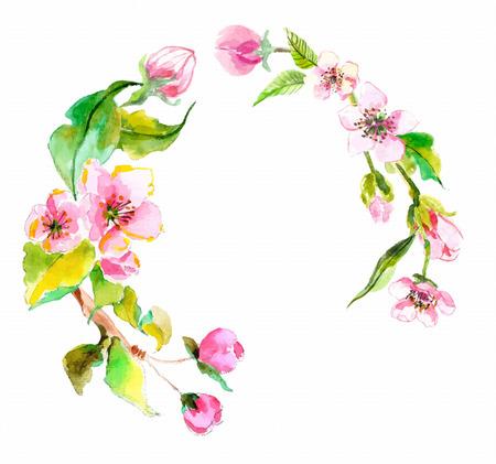 aquarelle: Watercolor apple flowers wreath, beautiful background for design