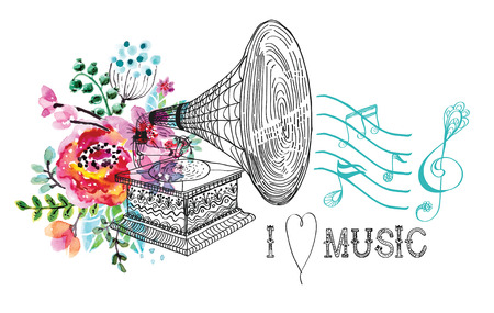 Vintage Gramophone, Record player background with floral ornament, beautiful  illustration with watercolor flowers