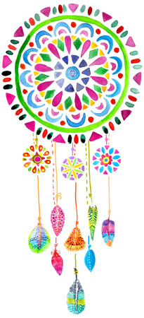 Watercolor Dreamcatcher for beautiful design, boho chic, ethnic Reklamní fotografie - 42501479