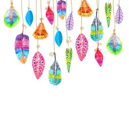 Hand getekende aquarel kleurrijke veren achtergrond, mooie illustratie