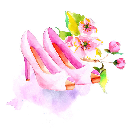 retro fashion: Watercolor flower and shoes, beautiful illustration for fashion or wedding design Illustration