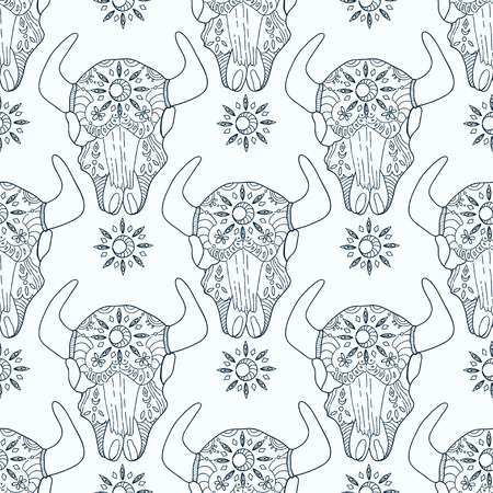 bohemian: Doodle bull skull with floral elements, seamless pattern