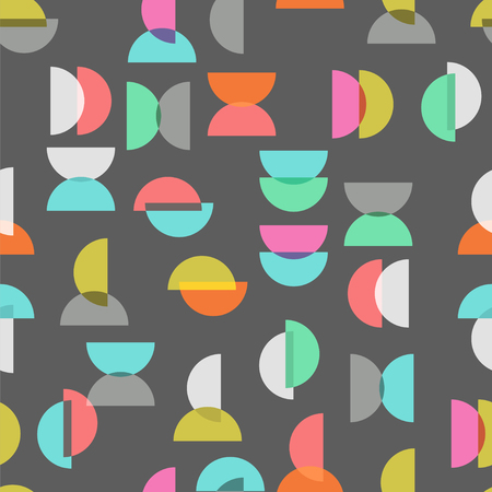 semicircle: colored semicircle seamless pattern over gray
