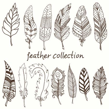 plumes décoratives rustiques, doodle collection de plumes de cru Vecteurs