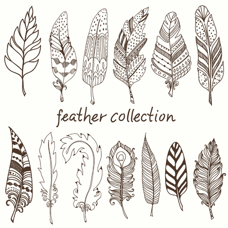 Rustic decorative feathers, doodle vintage feathers collection Illustration