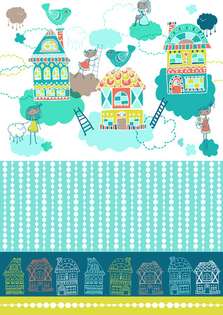 doddle: Cute doddle background with houses and cute girls, beautiful pattern for children design, textile design, holiday cards and other