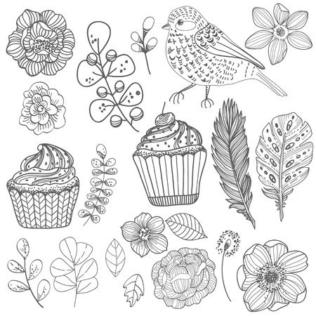 Hermosa flor de Doodle sobre fondo blanco para el diseño