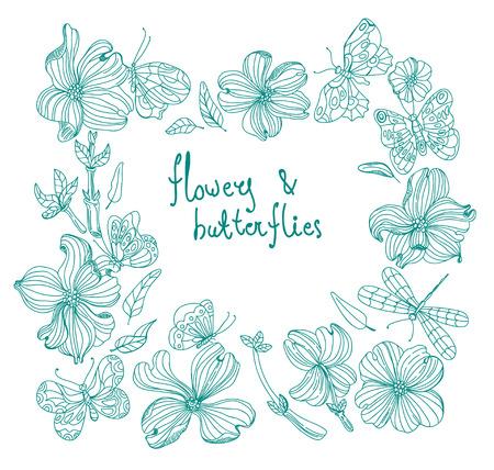 scrap: Beautiful Doodle flower set over white background for design, dogwood flowers