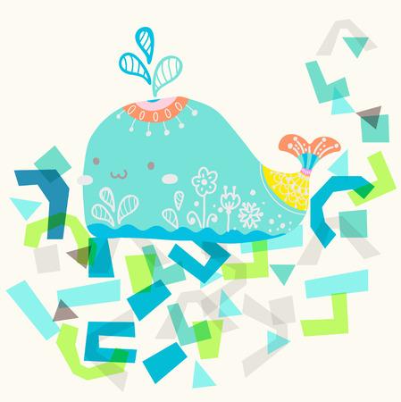 Ilustración con la ballena de hermoso diseño