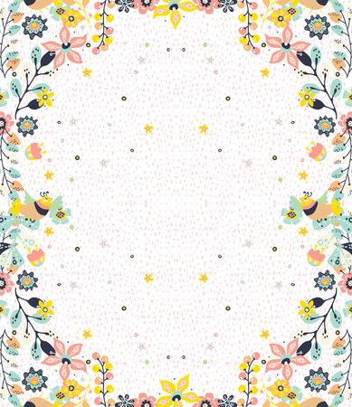 Colorful natural frame background with flowers and birds,  pattern for design