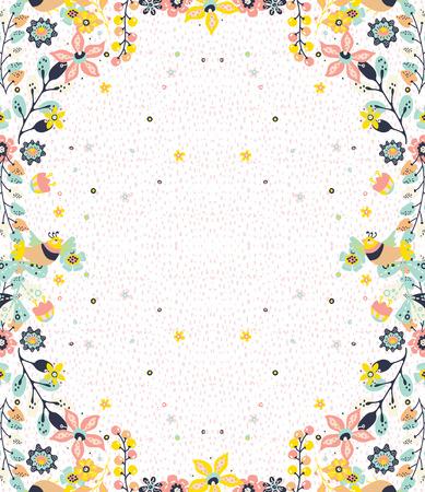 Kolorowe naturalne tło ramki z kwiatów i ptaków, wzór dla projektu