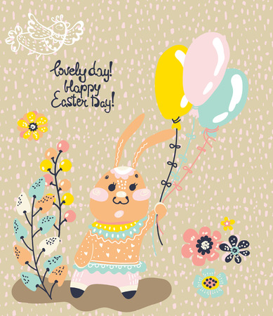 butterfly rabbit: Easter card with rabbit, beautiful colorful card with butterfly