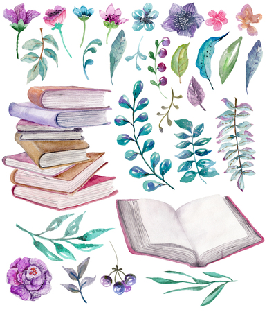 Watercolor floral and nature elements with beautiful old books, illustration for design, Beautiful collection with watercolor flowers and books over white