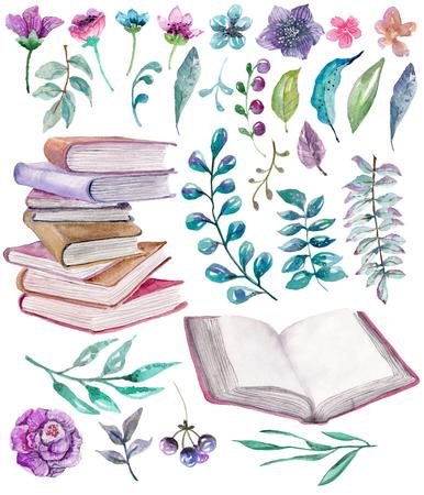 Watercolor bloemen en natuur elementen met prachtige oude boeken, illustratie voor ontwerp, Mooie collectie met waterverf bloemen en boeken over wit Stockfoto