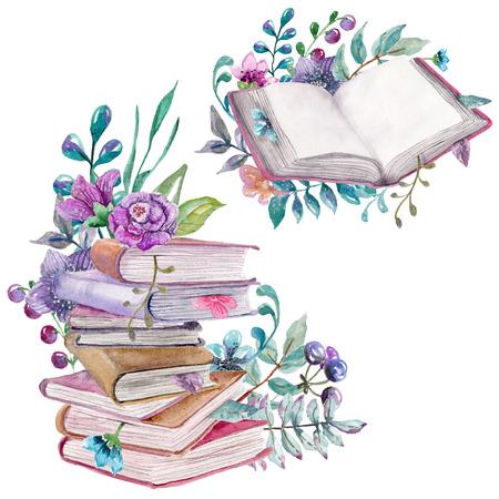 elementos florales de la acuarela y de la naturaleza con hermosos libros antiguos, ilustración para el diseño, Hermosa tarjeta con flores de acuarela y libros sobre blanco