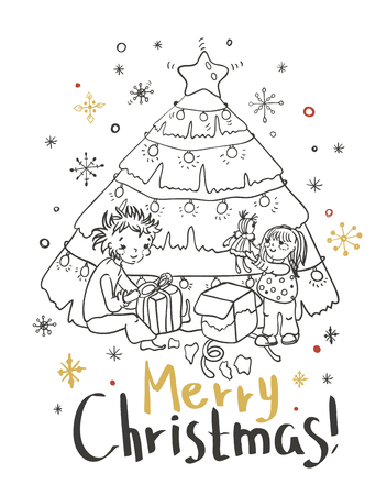 holiday gifts: Christmas card for xmas design with doodle children and holiday fir tree with gifts Illustration
