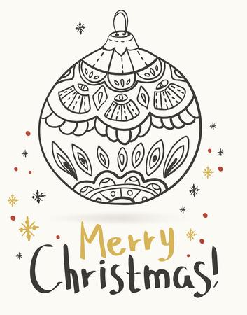 funky: Doodle christmas ball, Christmas card Stock Photo