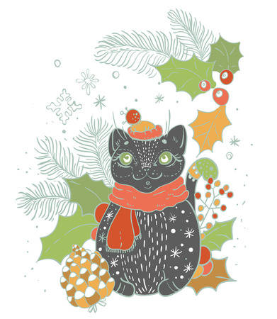 tree design: Christmas card for xmas design with doodle cat and decorations