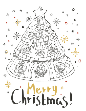 tree design: Christmas card for xmas design with Christmas tree home and cute animals