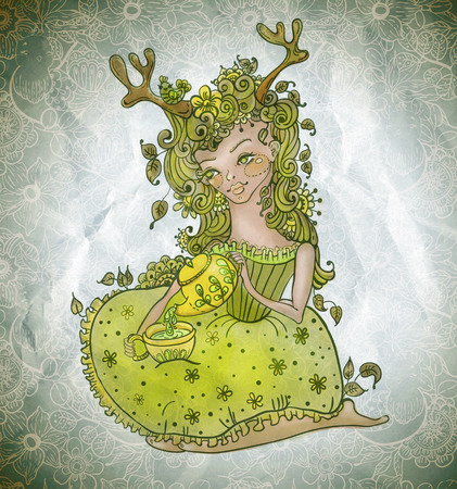 green cute: cute fairy girl in flowers with green teapot and tea cup over floral pattern, doodle colorful  illustration, good for postcard or print Stock Photo