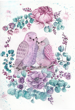victorian frame: Roses, leaves and bird. Watercolor illustration over white background for design Stock Photo