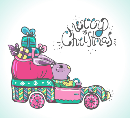 year of the rabbit: Funny rabbit in the car with gifts illustration, New Year 2017 Illustration