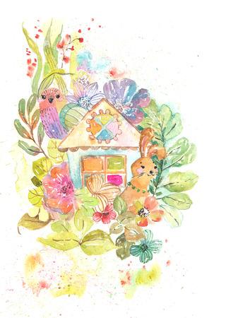 Illustrazione luminosa dell'acquerello con la casa sveglia, l'uccello, il coniglio e molti fiori, illustrazione domestica della casa dolce